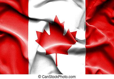 canadá, bandera ondeante