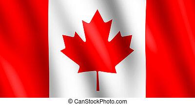 canadá, bandera ondeante, viento