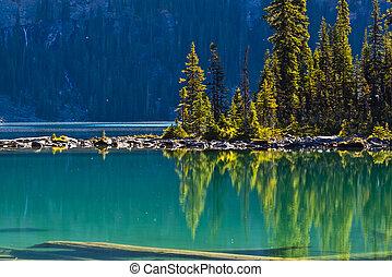 canadá, banff, escénico, lago, ohara, reflexiones