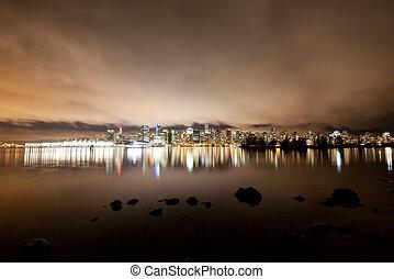 canadá, bc, centro cidade, skyline, vancouver, noturna