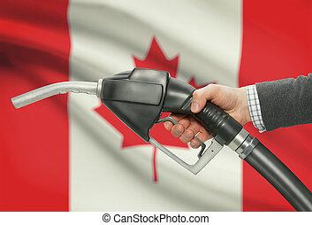 canadá, bocal, -, bandeira, mão, bomba, fundo, combustível,...