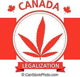 canadá, cannabis, vector, emblema, legalization