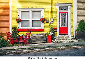 canadá, casa de madera, céntrico, c/, tradicional, terranova, john's