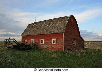 canadá, casa, viejo, pradera, alberta, granero rojo