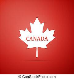canadá, cidade, apartamento, folha, nome, canadense, isolado, ilustração, experiência., vetorial, maple, ícone, vermelho, design.