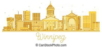 canadá, cidade, dourado, silhouette., skyline, winnipeg