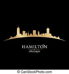 canadá, cidade, ontário, ilustração, silhouette., skyline, vetorial, hamilton