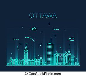 canadá, cidade, ontário, linear, ottawa, skyline, vetorial