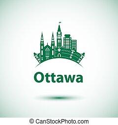 canadá, cidade, ontário, marcos, ottawa, skyline, vetorial