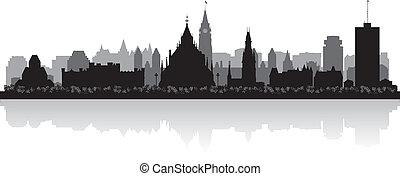 canadá, cidade, silueta, ottawa, skyline, vetorial