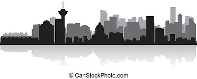 canadá, cidade, silueta, skyline, vetorial, vancouver