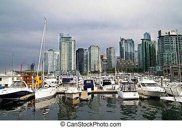 canadá, ciudad, vancouver, puerto deportivo, contorno, barcos