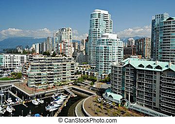 canadá, columbia, britânico, centro cidade, waterfront, ...