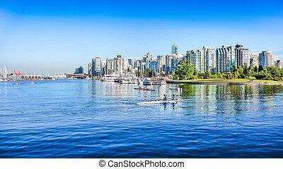 canadá, columbia, porto, britânico, skyline, vancouver