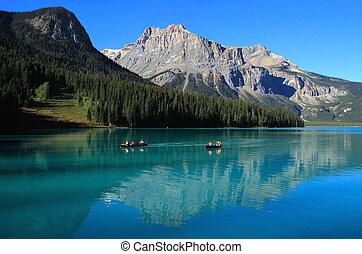canadá, columbia, yoho, nacional, britânico, parque, lago, esmeralda