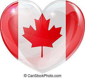 canadá, coração, bandeira, amor