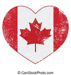 canadá, corazón, bandera, retro