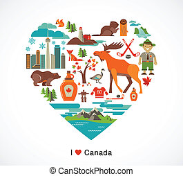 canadá, corazón, elementos, amor, iconos, -