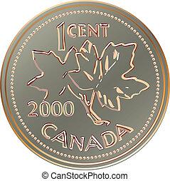canadá, dinero, vector, centavo