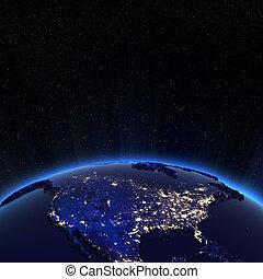 canadá, e, eua, luzes cidade, à noite