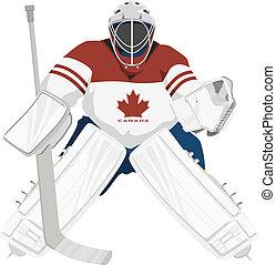 canadá, equipo, portero, hockey
