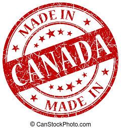 canadá, estampilla, hecho, rojo