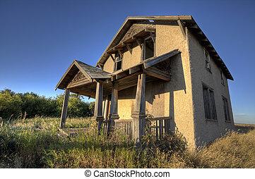 canadá, farmhouse, abandonado, saskatchewan