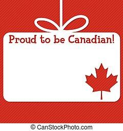 canadá, format., tarjeta, vector, corte, etiqueta, día afuera