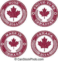 canadá, grunge, emblemas, folha, maple