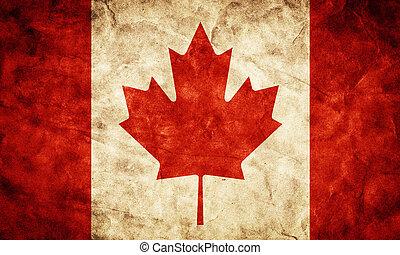canadá, grunge, flag., artículo, de, mi, vendimia, retro, banderas, colección