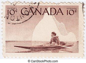 canadá, hacia, estampilla, -, canoa, 1955, indio, impreso...