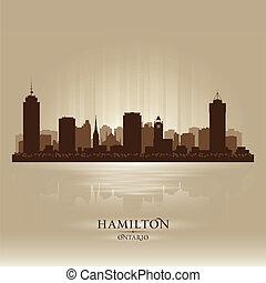 canadá, horizonte cidade, hamilton, silueta