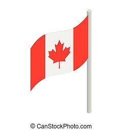 canadá, isométrico, estilo, bandera, icono, 3d