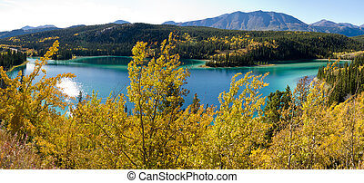 canadá, lago, território, esmeralda, carcross, yukon