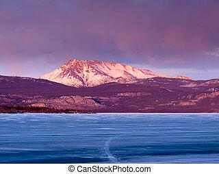 canadá, laurier, lago, território, mt., laberge, yukon