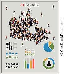 canadá, map., gente, grande, forma, grupo, plano de fondo, presentation.