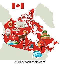 canadá, map., ilustração