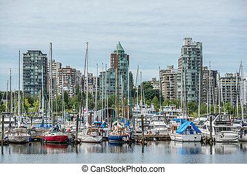 canadá, marina, vancouver