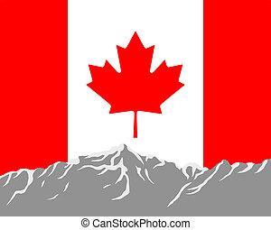 canadá, montañas, bandera