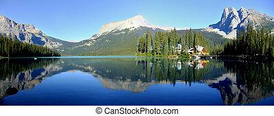 canadá, montañas, colombia, yoho, nacional, reflejado, ...