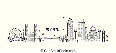 canadá, montreal, vector, línea, ciudad de edificios, contorno