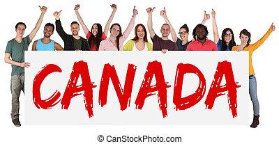 canadá, multi, grupo, gente, inmigración, joven, tenencia, ...