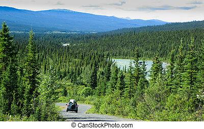 canadá, norte, estrada, canol, território, yukon