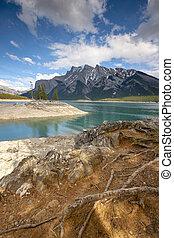 canadá, np, banff, el pasar por alto, minnewanka, lago,...