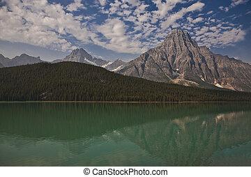 canadá, -, parque nacional, lago, jasper, alberta, templo