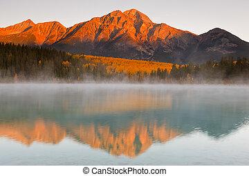 canadá, piramide, patricia, montanha, lago