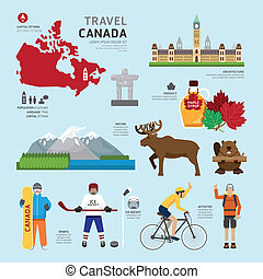 canadá, plano, iconos de concepto, illustr, viaje, diseño, ...
