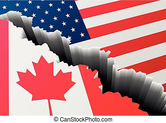 Canadá, profundo, estados unidos de américa, grieta