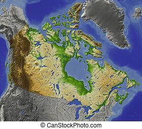 canadá, protegidode la luz, mapa en relieve