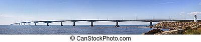 canadá, puente, confederación, panorama, pei